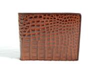 New! Men's 1990's-2000's Cognac Brown Crocodile Flank Skin Wallet