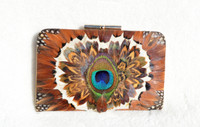 XL 1980's-90's PEACOCK & Pheasant Feather Change Purse