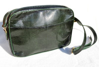 XL 1990's-2000's Kale GREEN Lizard Skin SHOULDER Bag - DONNA ELISSA -  ITALY