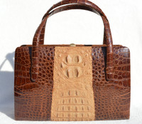 Stunning Brown & Tan 1960's Hornback CROCODILE Skin Handbag