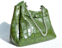 XL 16 x 12 Early 2000's GREEN Crocodile Belly Skin Shoulder Bag - Mauro Governa