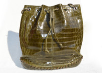 XXL 14 x 12 Early 2000's Kale GREEN ALLIGATOR BELLY Skin Drawstring SHOULDER Bag Bucket Tote