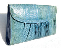 Ombre BLUE 1970's-80's COBRA Snake Skin Clutch Shoulder Bag