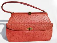 Red 1950's-60's GENUINE OSTRICH Skin Handbag - PRADO Bags