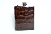 New! Custom Chocolate Brown ALLIGATOR Belly Skin 6 Oz. Stainless Hip FLASK