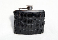 Custom Black HORNBACK Alligator Skin 5 Oz. Stainless Hip FLASK - NEW!
