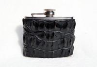 Custom Black HORNBACK Alligator Skin 5 Oz. Stainless Hip FLASK - NEW!