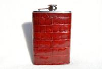 New! Custom Cherry Red ALLIGATOR Belly Skin 8 Oz. Stainless Hip FLASK