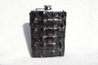 Dramatic Jet  Black HORNBACK Alligator Skin 8 Oz. Stainless Hip FLASK - NEW!