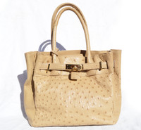 New! Hazelnut Tan Belted Ostrich Skin Handbag w/Lock & Keys