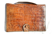 1940's-50's Cognac Men's ALLIGATOR Belly Skin Briefcase Bag Satchel