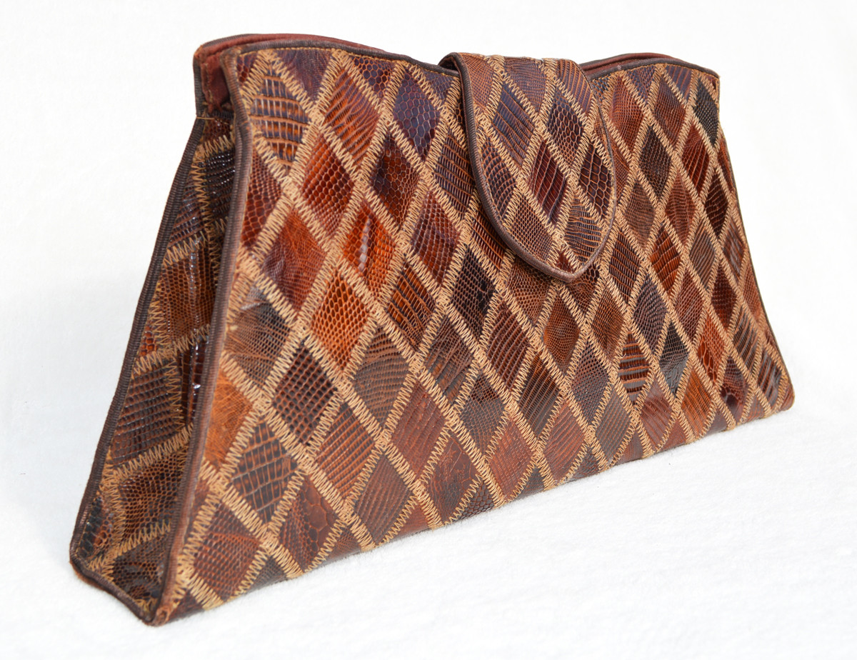 elegant in style wholesale price search for newest Chocolate Brown 1960's-70's PATCHWORK Lizard CLUTCH Bag