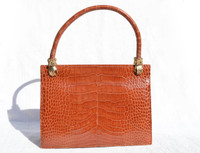 Early 2000's CHESTNUT Brown  ALLIGATOR Belly Skin Handbag - HANDS!