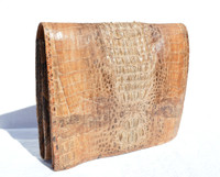 Gorgeous Unisex Light Tan 1960's Hornback CROCODILE & Snake Skin FOLIO Clutch iPad Shoulder Bag