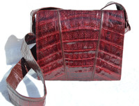 Cranberry RED 1990's SAKS FIFTH AVENUE Crocodile Belly Skin Crossbody Shoulder Bag