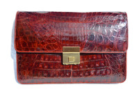 Unisex Burgundy RED 1990's  CROCODILE Belly Skin Clutch European Case