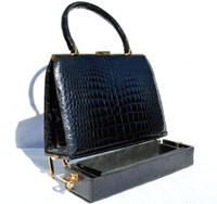 Stunning 1950'-60's BLACK Crocodile Porosus Belly Skin SAC MALLETTE Handbag
