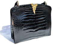 Amazing ROSENFELD 1950's-60's BLACK Alligator Belly Skin Handbag - Great Clasp!