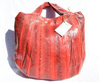 XL 16 x 14 Early 2000's RED & Black Snake Skin SHOULDER Bag Tote  - BEIRN