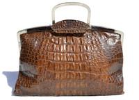 Lovely 1940's DECO Style Hornback CROCODILE Skin Clutch Handbag