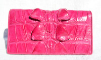 New! PINK Hornback CROCODILE Tail Skin Checkbook Wallet