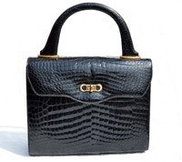 Exquisite Jet Black 1950's-60's LOUISE FONTAINE Crocodile POROSUS Bag - HERMES Quality