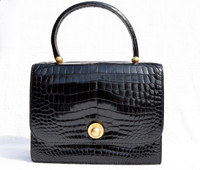 Stunning  JET BLACK 1950's-60's CROCODILE POROSUS Handbag - Princess - HERMES Quality - Italy