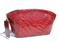 Lovely RED 1940's-50's ALLIGATOR Skin CLUTCH bag