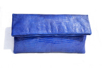 Stunning Princess BLUE Early 2000's Lizard Skin Fold-Over  CLUTCH Bag