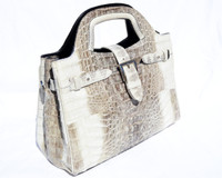 2000's Cream & Taupe Hornback CROCODILE & Snake Skin Handbag - River