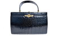 Classic 1950s-60's Jet Black SAKS FIFTH AVENUE Alligator Skin Handbag - Grimaldi