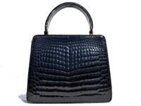 Petite BLACK 1960's CROCODILE Belly Skin Handbag