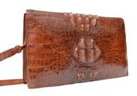 Cognac BOHO Style 1970's Hornback CROCODILE Skin Shoulder Bag