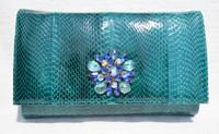 Jeweled TURQUOISE Green 1970's-80's COBRA Snake Skin Clutch Shoulder Bag