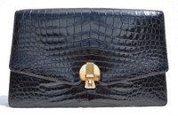 Jet BLACK 1950's-60's Sleek CROCODILE Porosus Belly Skin Clutch Bag - FINESSE