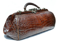 Gorgeous XL Antique Early 1900's ALLIGATOR Belly Skin Doctor Medical Bag
