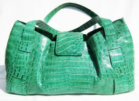 XL Bright GREEN CROCODILE Belly Skin Satchel SHOULDER Bag - NANCY GONZALEZ