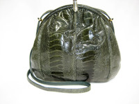 Forest GREEN 1970's-80's OSTRICH LEG Skin SHOULDER Cross Body Bag - LUC BENOIT
