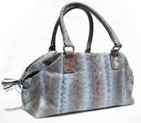 Newer 2000's HUGE Baby BLUE Snake Skin SATCHEL Handbag - BEIRN