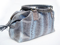 Newer 2000's HUGE Baby BLUE Snake Skin SATCHEL Handbag - BEIRN
