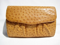 Dark Mustard Yellow 1970's-80's Ostrich Skin Clutch Shoulder Bag