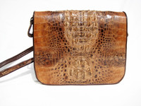 Stunning Bohemian Style 1980's Hornback Crocodile Skin Shoulder Bag