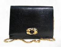 Jet Black 1950's-60's MARTIN VAN SCHAAK Lizard Skin CLUTCH Shoulder Bag