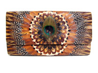 Beautiful BOHO Style 1970's PEACOCK Feather CLUTCH Bag