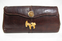 Custom BOHO 1960's Brown Lizard Skin CLUTCH - Carved Stone DONKEY!