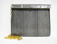GRAY 1970's-80's  COBRA Snake Skin CROSS BODY Shoulder Clutch Bag