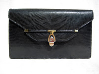 1970's-80's Gucci Style BLACK Lizard Skin CLUTCH Shoulder Bag by ARTBAG