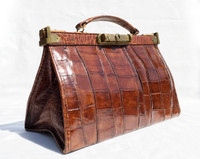 1930's-40's Petite Alligator Skin GLADSTONE Doctor Bag