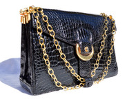 Jet BLACK 1950's-60's CROCODILE Belly Skin Shoulder Bag