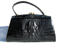 XL Jet BLACK 1960's HORNBACK Crocodile Skin Handbag